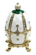 Decorative Faberge Egg Trinket Box Jewel Easter Egg Box with Crystals, White Col
