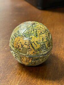 Antique Brass Travel Inkwell w/World Globe Map, Glass Insert