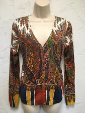 Etro Milano Bold Gorgeous Paisley Floral Signature Print Cardigan Sweater 46 B40
