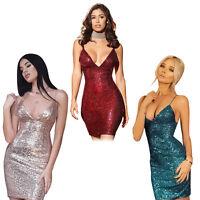 New Women Spaghetti Strap Bodycon Sequin Mini Dress Party Cocktail Prom Clubwear