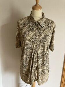 Betty Barclay Vintage Animal Print Short Sleeve Blouse Size L