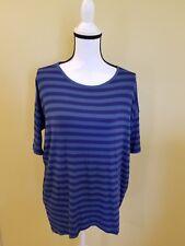 Lularoe Irma Blue Striped Print Womens Tunic Comfortable Blouse Size XS. NWOT