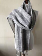 Culew Weavers Handwoven In Cerdigion Wales Grey Mix Mohair & Wool Scarf 200x24cm