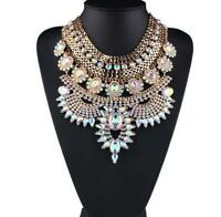 Fashion Gold Silver Chain Crystal Chunky Choker Statement Pendant Bib Necklace