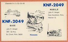 QSL Card MINNESOTA MN St Cloud KNF2049 John P. Hengel fish canoe boat car home