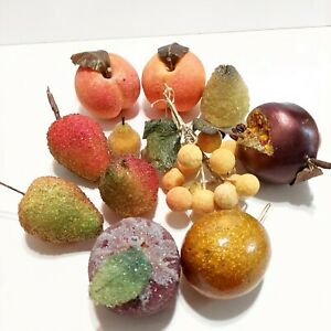 Frosted Sugared Beaded Fruit Prop Decor Lot of 12 Pieces