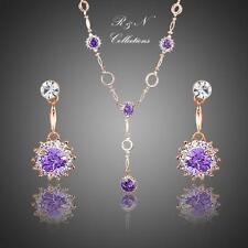 18K Rose Gold Plated Purple Cubic Zirconia Drop Earrings & Pendant Necklace S620
