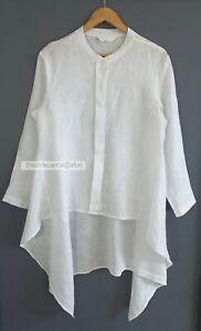 OYSTER & PEARL // Size M/L // $189 White Linen Asymmetrical Tail Shirt