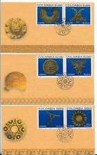 COLOMBIA 2002, PRECOLUMBIAN ART, CULTURES, ARCHAEOLOGY SET OF 6 ON 3 FDC