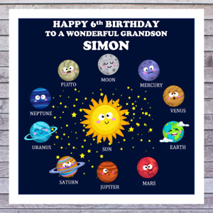 KIDS SOLOUR SYSTEM PLANET BIRTHDAY CARDS personalised AGE RELATIONSHIP NAME