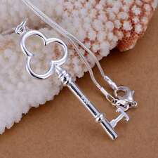 Fashion 925Sterling Solid Silver Jewelry Key Chain Pendant Necklace P057