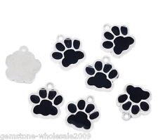 10PCS Wholesale Lots Silver Tone Black Enamel Dog's Paw Pendants 18x17mm GW