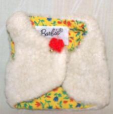 Original-Vintage-Mattel-Barbie-White Furry Vest with Yellow Lining-Barbie Tag