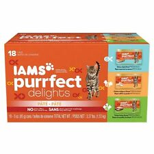 IAMS PURRFECT DELIGHTS Pate Adult Wet Cat Food, Variety Pack Salmon, Chicken & 3