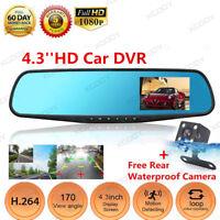 Dual Lens HD 1080P 4.3'' Car DVR Rearview Mirror Dash Cam Video Recorder Camera