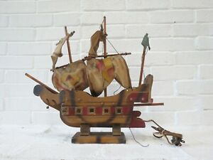 Antique Wooden Ship Lamp Painted Model Sailing Ship Rustic Schooner Boat AS-IS