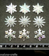 CLEAR CRYSTAL SNOWFLAKES Craft 1ST CLASS P&P Embellishment Snow Christmas Button