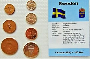 SWEDEN, GROUP of 7 GEM COINS, mixed dates, in a see through package.