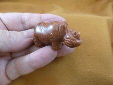 Y-Rhi-561) little orange Rhino rhinoceros gemstone Figurine carving love rhinos
