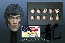1/6 Bruce Lee Head Sculpt 7.0 battle v. w/ hands for Hot Toys Phicen M32 ❶USA❶