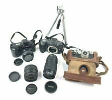 """Lot of UNTESTED Cameras, Lenses and 10"""" Tri-Pod **FOR PARTS** Minolta, Argus"""
