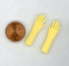 """Miniature Dollhouse Yellow Garden Rubber Gloves 1 1/4"""" Long"""