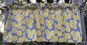 Lemon Slices Lemons Citrus Fruit Navy Striped Kitchen Curtain Valance