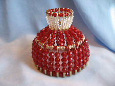 BEADED SHADE FOR WINDOW TABLE NIGHT LIGHT ELECTRIC CANDLE SHADE  RUBY
