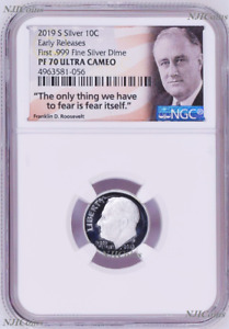 2019 S Proof 10C Silver Dime NGC PF70 UCAMEO in 10-coin-set Roosevelt label ER