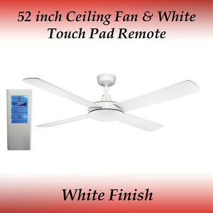Genesis 52 inch (1300mm) White Ceiling Fan and White Touch Pad Remote