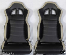 NEW 2 BLACK & GRAY PVC LEATHER RACING SEATS + SLIDER RECLINABLE ALL TOYOTA **