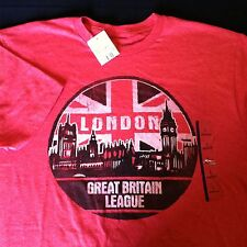 London Great Britain League T Shirt Red British Flag Size Large