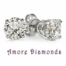 1 ct F VS2 natural ideal cut diamond solitaire stud earrings platinum push backs