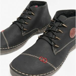 Rieker 52502 Stylish Ladies Lace-Up Memory Foam Breathable Ankle Boots Black