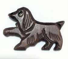 Vintage Carved Wood Cocker Spaniel Dog Pin Figural Brooch Hand Painted 518