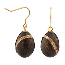 Faberge Egg Earrings with crystals 1.9 cm black #2-1503-13
