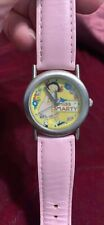 Mary Engelbreit Stainless Steel Watch With Pink Leather Strap Rare