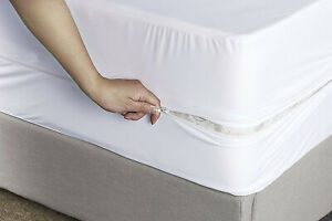 White Fully Enclosed Zipped Mattress Protector Anti Allergy cover