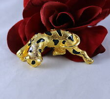 Cat Pin Brooch Cat Rescue Adorable Gold tone Black Enamel Leopard