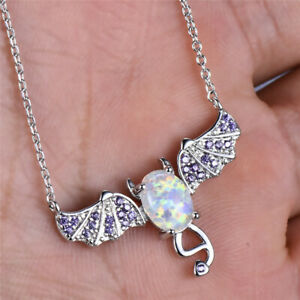 Fashion Lady Silver Bat White Simulated Opal Pendant Necklace Wedding Jewelry