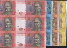UKRAINE RARE FULL COMPLETE Uncut sheet UNC 6 banknotes 1 2 5 10 hryvnia