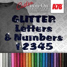 Custom Glitter Letters & Numbers Iron On transfer Hotfix Craft T-shirt Stickers