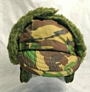 Cold Weather Military Style Camo Trapper Woodland Fur Lined Billed Cap Hat