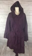 Eileen Fisher Raincoat Jacket Purple Long Sleeve Drawstring Hoodie Tie Waist
