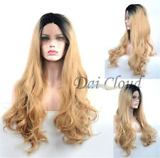 Women Long Charming Black Blonde Ombre Lace Front Curly Hair Cosplay Full Wigs