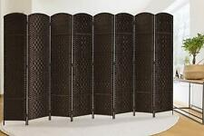 8 Panel Room Divider Folding Extra Wide Weave Fiber Privacy Screen ,Dark Coffee