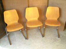 Lot 3 chaises empilables design Marcel BREUER années 1950 60 bois formé vintage