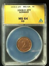 1908-D Germany 2 Pfennig ANACS CERTIFIED MS 64 RED . VERY HIGH GRADE