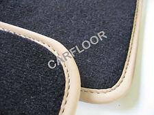 Für BMW 6er F12 Cabrio Fußmatten Velours Deluxe schwarz mit Nubukband beige