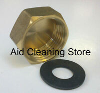 "BRASS WASHING MACHINE TAP BLANKING CAP AND WASHER 3/4"" STOP CAP"